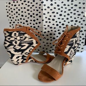 Animal Print Open Toe Wedge Lace Up Heel
